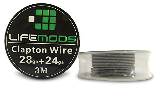 LifeMods Clapton Stainless Steel Wire AISI 316L spool AWG 28/24 gauge 10' feet/roll by LifeMods