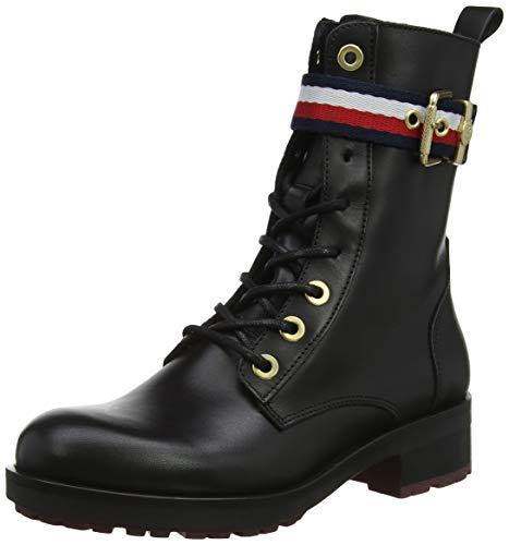 Negro Boot 990 Belt Corporate Hilfiger Mujer Tommy Biker black Militar Botas Para PIzfxqx