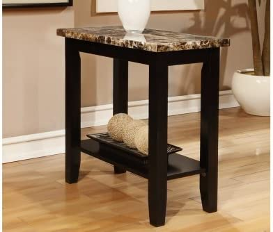 Poundex Rectangular Black Faux Marble Top Chair Side Table End Table