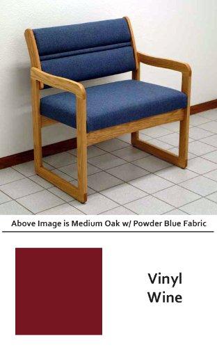 Back Sled Base Wood Chair - Heavy Duty DWBA1-1 Dakota Wave Sled Base Bariatric Chair in Medium Oak & Vinyl Wine Fabric (800 Pound Capacity) from ABC Office