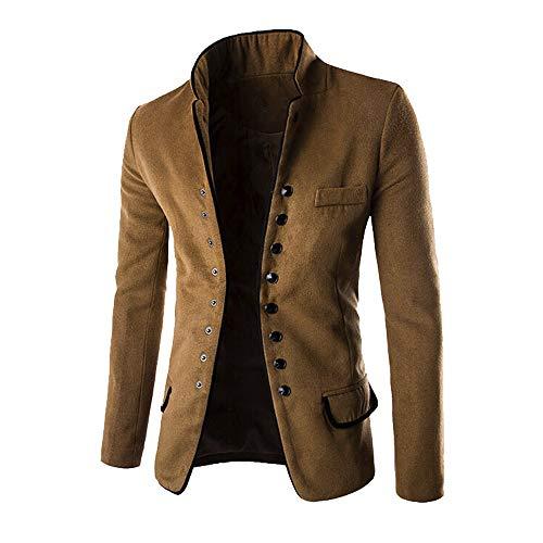 (TOPUNDER Fashion Autumn Winter Button Coat Men Long Sleeve Cardigan Sweater Top Blouse Khaki )