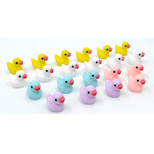 EMiEN 21PCS Little Duck 4 Colors Duckling Miniature Ornament for DIY Dollhouse Decoration Fairy Garden Plant Décor, Nice Decoration Accessories for Desk,Cabinet,Kids Room,Party etc. - Tiny Duck