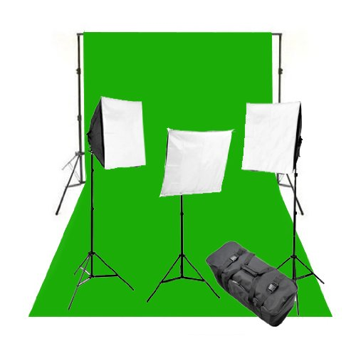 CowboyStudio Complete Photography and Video Stuido 2400 Watt Three Softbox Continuous Lighting Kit with 10 x 12-Feet Chromakey Green Muslin Background and Backdrop Support Stand by CowboyStudio