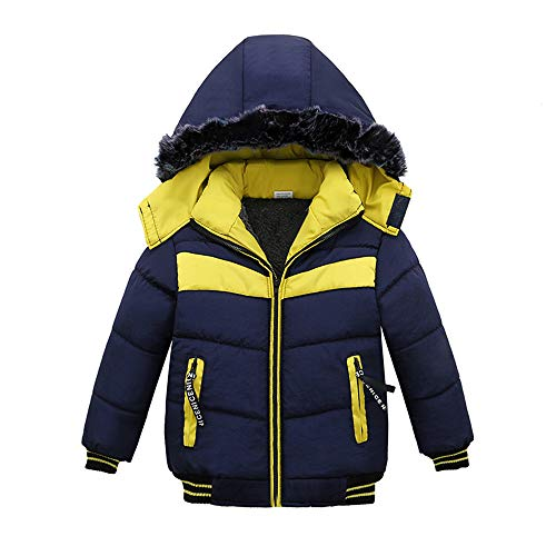 - 2018 New! Paymenow Toddler Boys Girls Baby Winter Coats Warm Fleece Down Windproof Jacket Zipper Thick Hoodie Outerwear Clothes (4 T, Dark Blue)