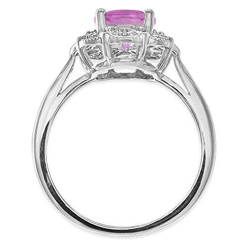 Brilliant Designers Sterling Silver 1.58 CT Majestic Created Pink Sapphire & Diamonds Accent Floral Ring