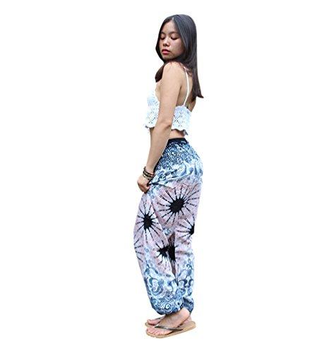 Danza Boho Sentaoa Donna Stampa Yoga Pilates Di Pantaloni Stile Smocked 15 Harem Waist gqXaWv4q