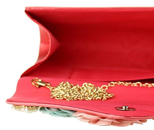 Girly Handbags - Cartera de mano de Material Sintético para mujer Coral