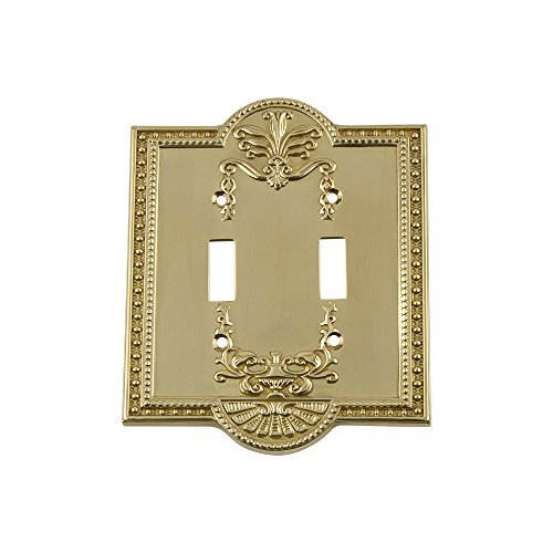 Nostalgic Warehouse 719927 Meadows Switch Plate with Double Toggle, Polished Brass