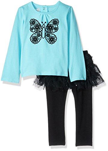 Quiltex Baby Girls' 2 Piece Tutu Set, Butterfly Blue, 3/6 MO