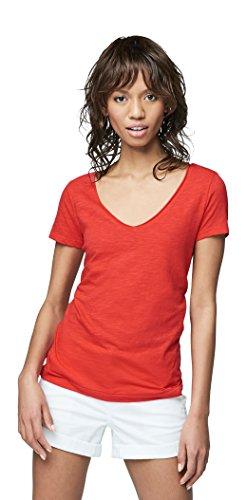 Aeropostale Women's Solid Hampton V-Neck Tee Medium Aurora - Apparel Aurora Red