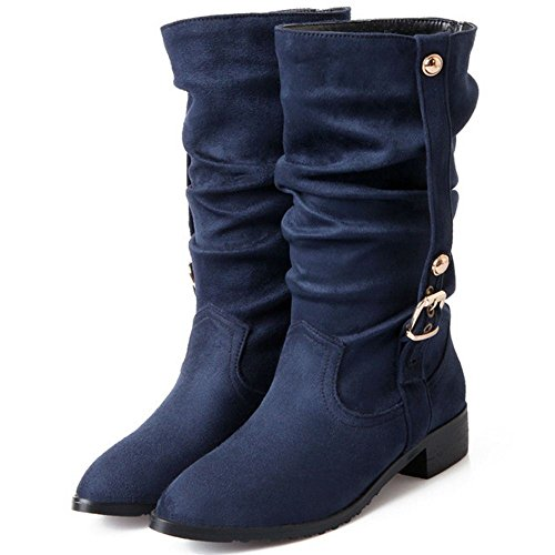 COOLCEPT Women Fashion Low Heels Slouch Shoes Classic Stretch Mid Boots Blue