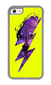 Apple Iphone 5C Case,WENJORS Cool Thunderwolf Soft Case Protective Shell Cell Phone Cover For Apple Iphone 5C - TPU Transparent