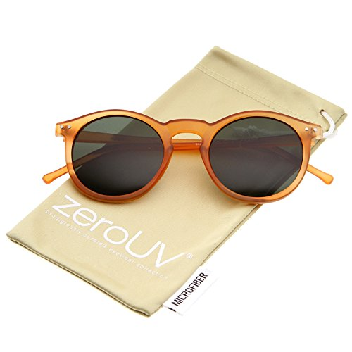 zeroUV - Retro Horn Rimmed Keyhole Nose Bridge P3 Round Sunglasses 49mm (Matte Orange / Green)