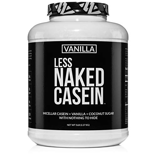 Less Naked Casein - Vanilla Micellar Casein Protein from US Farms - 5 Pound Bulk, GMO-Free, Gluten-Free, Soy-Free, Preservative-Free - Stimulate Muscle Growth - Enhance Recovery - 61 Servings (Difference Between Pea Protein And Whey Protein)