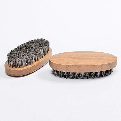 - Natural Boar Bristle Beard Brush Mustache Hair Face Cleaning Wood Handle Comb (Color - 1#)