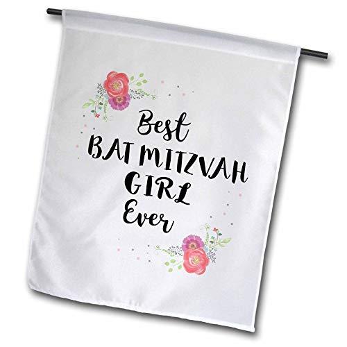 - 3dRose InspirationzStore - Love Series - Floral Best Bat Mitzvah Girl Ever Pink Flowers Cute Batmitzvah Gift - 12 x 18 inch Garden Flag (fl_316142_1)
