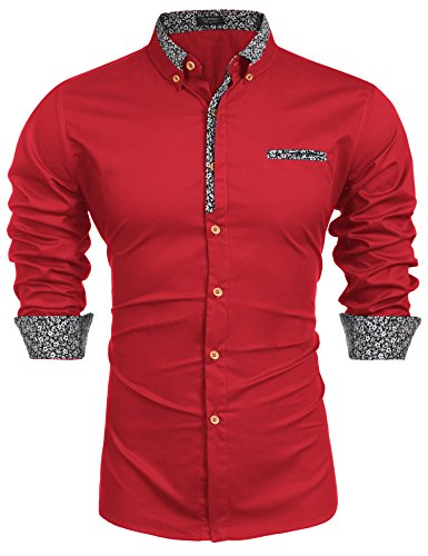 Coofandy Men's Floral Cotton Printed Slim Fit Casual Inner Contrast Dress Shirt(Red,M)