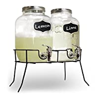 Glass Drinks Dispenser Mason JAR Home Outdoor Picnic BBQ Parties with TAP & Metal Mug jar set With STAND SUMMER PARTY GLASS BOTTLES (2 X 4L GLASS)