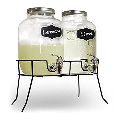 SHINE Dispensador de Bebidas de Cristal Brillante Mason Jar Home Outdoor Picnic BBQ Party con Tapa y Taza de Metal con Soporte de Botellas de Vidrio ...