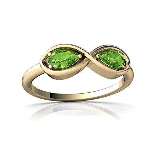 14kt Yellow Gold Peridot 5x3mm Pear Infinity Ring - Size 9