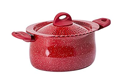 "Bialetti Y0C8PP0260 Madame Rubino Induction Pasta Pot Universal, 10.24"", Grey/Red"