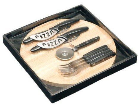 Presents /& more Set 10/pi/èces planche ronde /à pizza en bois couverts et roulette d/écoupe pizza