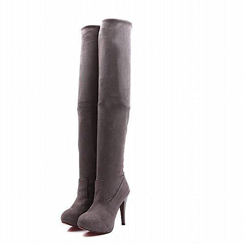 Latasa Kvinna Sexig Elastisk Och Justerbar Boot Shat Höjd Plattform Stilett Hög Klack Över Pådrags Knäet Klänning Boots Grå