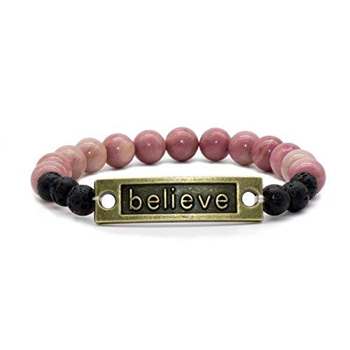 (Bivei Lava Stone Diffuser Bracelet - Natural Gemstone Healing Crystal Beads Motivational Inspirational Bracelet, Believe, Love(Believe-Rhodonite))