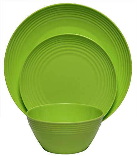 Melange 12-Piece  Melamine Dinnerware Set (Solids Collection ) | Shatter-Proof and Chip-Resistant Melamine Plates and Bowls | Color: Green | Dinner Plate, Salad Plate & Soup Bowl (4 Each)