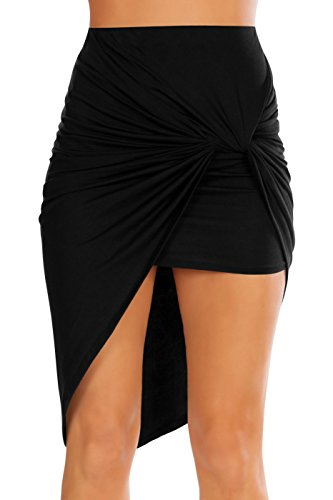 Womens Drape Up Stretchy Asymmetrical High Low Short Mini Bodycon Pencil Skirt