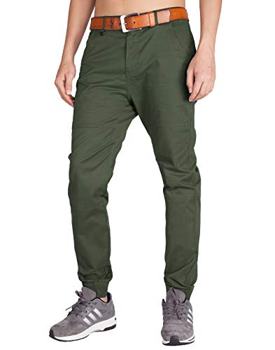 ITALY MORN Men's Chino Jogger Drop Crotch Flat Front Casual Pants 36 Army Green (Best Slim Fit Sweatpants)