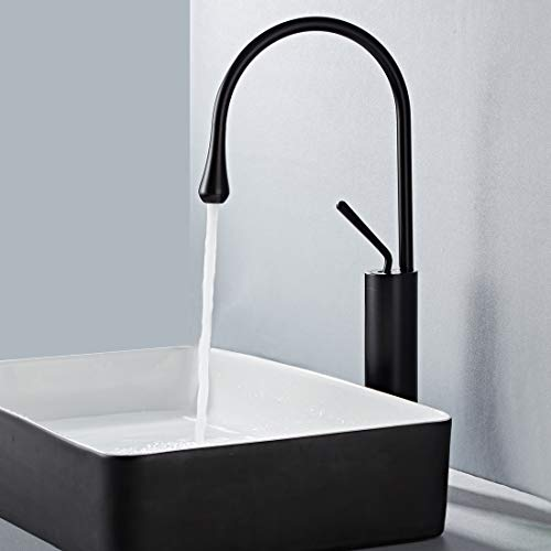 Bathroom Vessel Sink Faucet Tall Body Solid Brass Black Matte Basin Mixer Tap Rotation Freely, Elegant Gooseneck Water Drop Design For Vanity, Single Handle Single Hole (Water Drop Black)