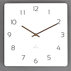 Rema House 11.4 Square Wall Clock Silent &Non-Ticking Quartz Lightweight 0.55lb Unique Eco Wood Clock