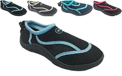 Ladies Womens Waterproof Water Shoes Aqua Socks Beach Pool Yoga Exercise Black/Light Blue 8