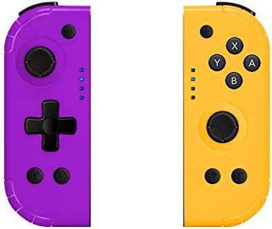 YHT Wireless Joy Pad Controller for Nintendo Switch, Replacement Joy Con with Redesigned Ergonomic Hand Grip Comfortable Handheld Gamepad Remote Wake Up Version (Purple & Yellow)