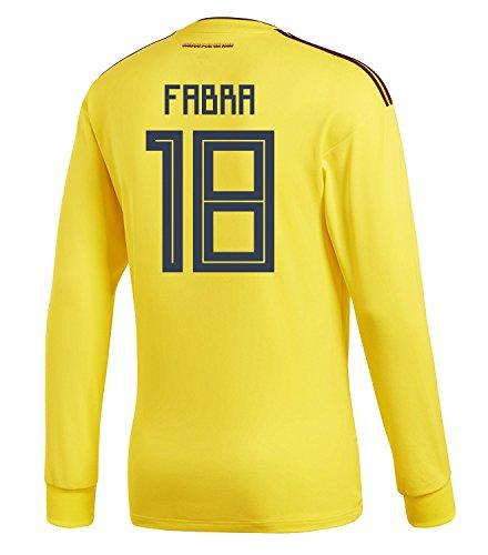 未接続心臓ホストadidas Mens FABRA #18 Colombia Home Long Sleeve Soccer Jersey World Cup 2018 /サッカー ユニフォーム ファブラ 背番号 18 コロンビア ホーム用 長袖