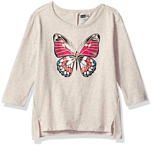 Crazy 8 Girls' Big Long Sleeve Graphic Tee, Heathered Butterfly X-Large