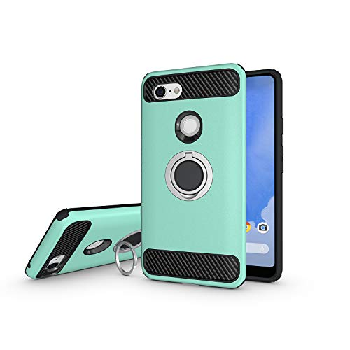 - Newseego Compatible with Google Pixel 3 XL Case, Armor Dual Layer 2 in 1 and Finger Ring Holder Kickstand Fit Magnetic Car Mount for Google Pixel 3 XL-Green