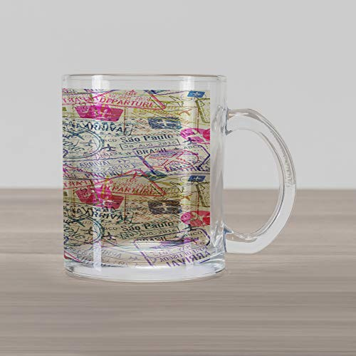 Ambesonne Travel Glass Mug, Passport and Visa Stamps Illustration of Toronto Hong Kong Berlin Print, Printed Clear Glass Coffee Mug Cup for Beverages Water Tea Drinks, Eggshell and Pink