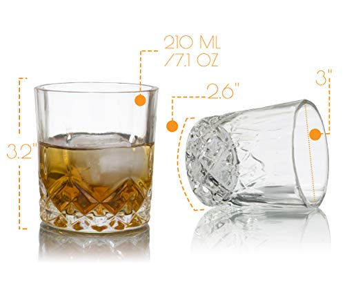 Whiskey Glasses, Set of 4 Classic Scotch Crystal Clear, Old Fashioned Bourbon Drinking Cups by Dobaccio (Image #1)