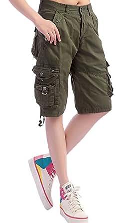 Chouyatou Women S Casual Loose Fit Multi Pockets Twill