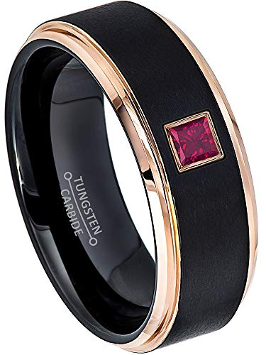 0.10ctw Solitaire Princess Cut Ruby Tungsten Ring - 8MM Brushed 2-Tone Rose Gold Tungsten Carbide Wedding Band - July Birthstone Ring - s12.5 ()