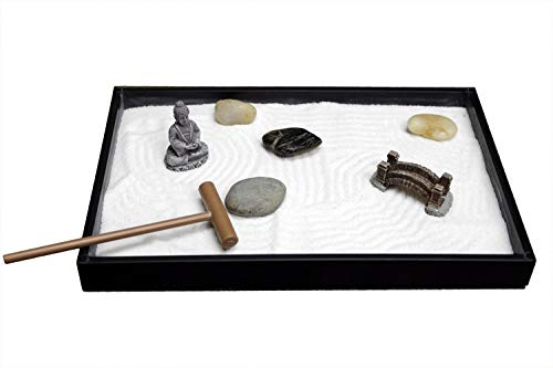 Desktop Mini Meditation Zen Garden Tray for Stress Relief, 8 X 5 inches with Buddha Figure Natural River Rocks Rake and Sand