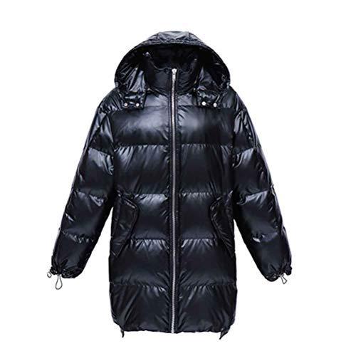 Gruesa Señoras Al Suelto Pato Invierno Abajo Aire De Libre Capucha Con Larga Blanca black xl Chaqueta 4wvq0f