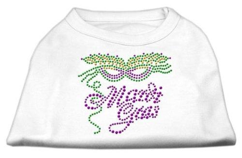 Mirage Pet Products Mardi Gras Rhinestud Shirt, Large, White