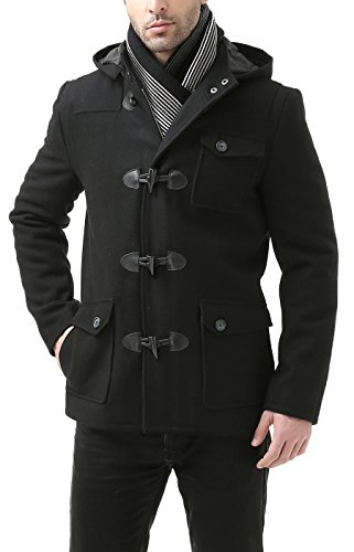 BGSD Men's 'Nathan' Wool Blend Patch Pocket Short Toggle Coat - Black L (Zip Jacket Wool Short)