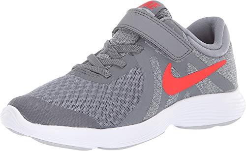 Nike Boy's Revolution 4 (PSV) Running Shoes (12.5 M Little Kid US, Cool Grey/Habanero red/Wolf Grey/White) -