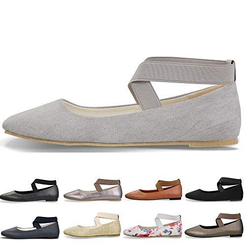 - Women's Classic Round Toe Ballerina Walking Slip On Suede Flats - Comfortable Closed Toe Ballet (9-9.5 B(M) US/ CN41 / 10'', Gray)