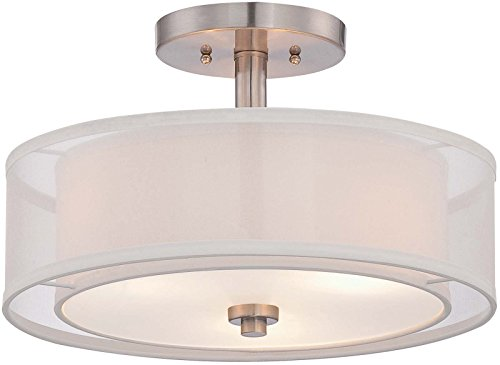 Minka Lavery Semi Flush Mount Ceiling Light 4107-84, Parsons Studio Lighting Fixture, 3 Light, Nickel ()