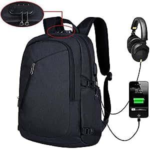 Anti Theft Laptop Knapsack USB Charge Ipad Travel Daypack Lightweight Bag Black
